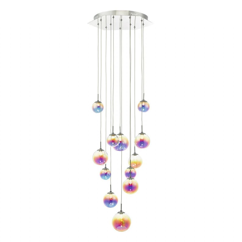 Cesario 12lt Cluster Pendant Polished Chrome & Multi Colour LED (double insulated) BXCES1250-17